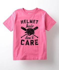 Raspberry 'Helmet Hair Don't Care' Tee - Toddler & Girls - My hairstyle Softball Tshirts, Softball Crafts, Softball Quotes, Cheer Shirts, Girls Softball, Softball Players, Baseball Shirts, Sports Shirts, Softball Stuff