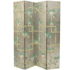 Chinoiserie Four Panel hand painted Wallpaper Folding Screen 1940s | 1stdibs.com - tea paper on silver leaf