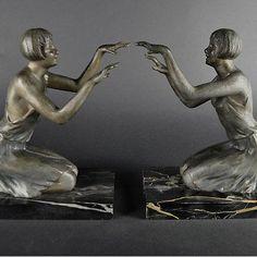 1920s ART DECO LE VERRIER PAIR BOOKENDS FEMALE GIRL DANCER SCULPTURE FRANCE