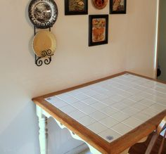 The Charm of Home: Cottage Table Makeover- Revamp old tile top table. Drab to fab w/ a pop of color...