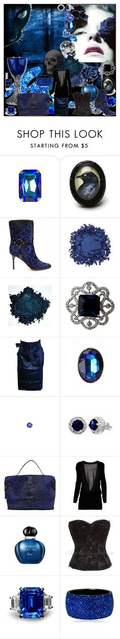 """Sapphire Night"" by annanoire ❤ liked on Polyvore featuring Tarina Tarantino, Raven Denim, Jimmy Choo, Urban Decay, LIST, Chanel, Swarovski, Jasmine Di Milo, Christian Dior and deep blue"