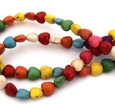 Lot de 10 Perles de pierres Howlite Turquoise coeur 8 mm PP2016007 : Perles pierres Fines, Minérales par creatist
