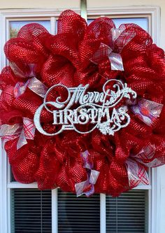 Red and Silver Deco Mesh Merry Christmas Wreath (Ready to ship) on Etsy, $42.00