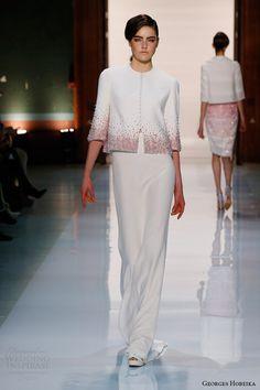 Жорж Хобейка мода весна лето 2014 куртка полная длина юбки ломбер деградируют бисером