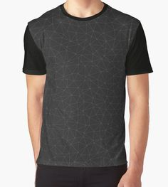 Elegant White and grey geometric mesh Graphic T-Shirt by #PLdesign #geometric #modern #abstract