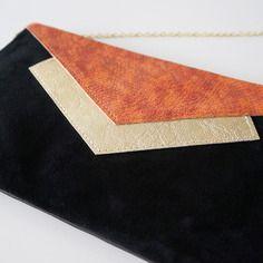 """Pochette """"mona"""" en cuir tricolore noir, doré, corail"""