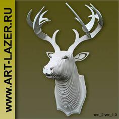 лазерная резка - белая голова оленя.