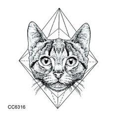 RU2PCS CCSEX1 Vintage Old School Style Kitty Cat Head Women Skull Mask Temporary Tattoo Sticker Body Art Fake Taty