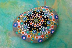 PAINTED BEACH STONE 6 / Pebble Art / Dot Painted Stone / Home