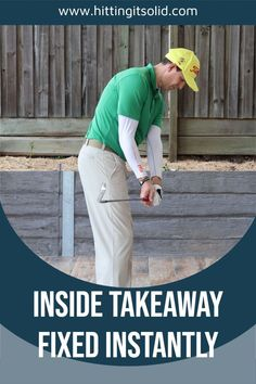 Hitting It Solid shares with you how to fix a golf takeaway that's too far inside. Discover how to keep your hands outside of the ball in the takeaway and make an incredible and on plane backswing. CLICK THE IMAGE to watch the video. #golftakeawaytoofarinside #golftakeawayinside #golfinsidetakeawayfix #golfbackswinginsidetakeaway
