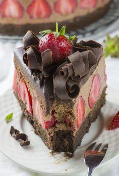 Strawberry Chocolate Cake - Chocolate Dessert Recipes - OMG Chocolate Desserts