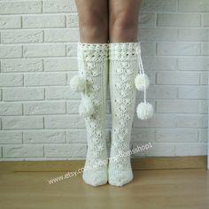 Items similar to Ladies socks. Cream socks lace knit,knit socks womens, socks with pompons, woman leg warmers, Hand knit knee socks. on Etsy Crochet Socks Pattern, Crochet Boots, Crochet Clothes, Lace Knitting, Knitting Socks, Knit Socks, Mode Crochet, Crochet Baby, Pom Poms