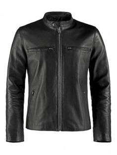 Mens Biker Style Leather Jacket
