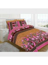 Jaipuri Sanagari Print Double Bed Sheet With Two Pillow Covers