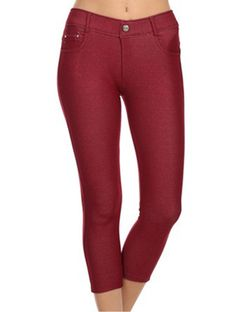 Burgundy Capri Jeggings