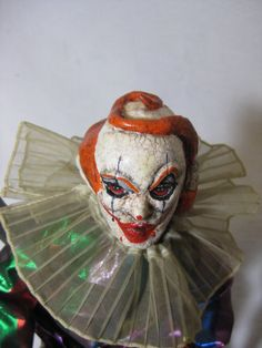 Tordu the Clown Doll Creepy Scary ooak Horror Goth Hand Sculpted doll. $70.00, via Etsy.