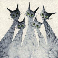 Logan Stray Cats | Lori Alexander | http://www.straycatartbylorialexander.com/whimsical-cats