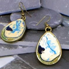 Hung from sterling silver ear wires these earrings feature hand painted bezels in Dark Blue and Cream with Gold Glitter and measure approx. 2 inches in length. Chemical Reactions, Burnley, Swarovski Crystal Beads, Painting Process, Gold Glitter, Jewelry Collection, Dark Blue, Handmade Items, Jewelry Making