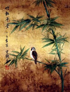Chinese Painting - bamboo carries peace
