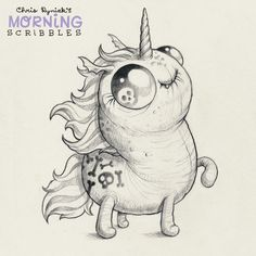 Official Post from Chris Ryniak: Goth Unicorn Magic! Cute Monsters Drawings, Cartoon Monsters, Little Monsters, Cartoon Drawings, Cartoon Art, Cute Drawings, Cartoon Brain, Penguin Cartoon, Ghost Cartoon