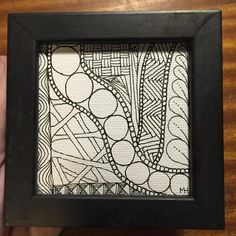 """Framed 3""""x3"""" on canvas. All artwork posted is for sale, either the original or a reproduction of the original, enquire for pricing and details! #zentangle #dubbybydesign"""
