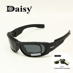 2646faf26a6 Daisy C6 Polarized Ballstic Army Sunglasses Military Goggles Rx Insert 4  Lens Kit Men Combat War