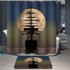 Hot Sale Moon Sailing Pattern Printing Waterproof Shower Curtain