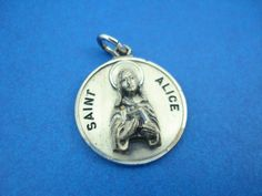 Sterling Silver Saint Alice Catholic Medal   Patron St of Blind