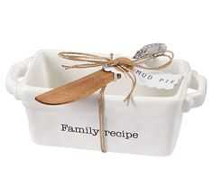Mud Pie 4801009F 'Family Recipe' Mini Loaf Server with Spreader, White ** Find out more about the great product at the image link.