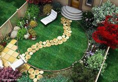 Using Wood in the Garden, if you have to bring a tree down because it's interfering with drainage this is a great way to re-purpose the tree. Townhouse Landscaping, Front Yard Landscaping, Landscaping Ideas, Backyard Ideas, Garden In The Woods, Lawn And Garden, Garden Steps, Small Garden Design, Small Gardens