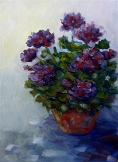 """Daily Paintworks - """"Purple Geraniums"""" by Maggie Flatley"""
