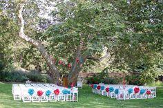 Simple wedding chair arrangement. Love it! Fantastic backdrop