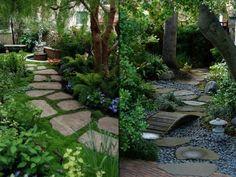 design jardins verts dalles grises galets pont