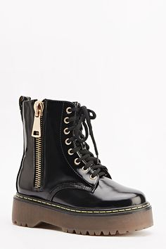 Patent Zip Side Chunky Boots for £5 @ Everything5pounds.com