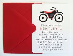Red Dirt Bike Birthday Party Invitations SET OF by LittleMavens