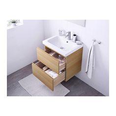 GODMORGON / ODENSVIK Szafka pod umywalkę z 2 szufladami - ef dębu bejc bia - IKEA