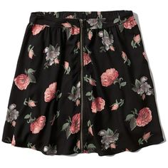 Abercrombie & Fitch Floral Zip Front Skater Skirt ($20) ❤ liked on Polyvore featuring skirts, bottoms, black floral, flared skirt, front zipper skirt, floral print skater skirt, draped skirt et floral knee length skirt