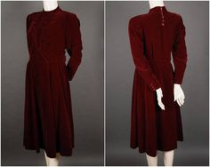 30s 40s cotton velvet dress dark red burgundy knee length 1930