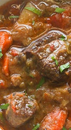 Slow cooker Jamaican Beef Stew -Rich and exciting, beautifully tender cooked low and slow for hours! One pot meal Loaded with vegetables . Jamaican Cuisine, Jamaican Dishes, Jamaican Recipes, Jamaican Oxtail, Jamaican Curry Chicken, Oxtail Recipes, Cooker Recipes, Crockpot Recipes, Vegan Recipes