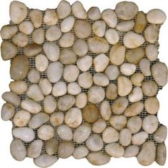 MS International, White Pebbles 12 in. x 12 in. x 10 mm Tumbled Marble Mesh-Mounted Mosaic Floor and Wall Tile, PEB-WHITE at The Home Depot - Mobile Pebble Mosaic, Mosaic Tiles, Wall Tiles, Growing Mushrooms At Home, White Pebbles, Bathroom Flooring, Bathroom Renos, Bathroom Vanities, Bathroom Ideas