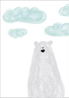 Watercolor Animals, Watercolor Paintings, Baby Painting, Bear Art, Baby Decor, Cute Illustration, Nursery Wall Art, Doodle Art, Cute Drawings
