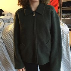 Vintage express forest green jacket Zip front collared vintage express jacket Express Jackets & Coats