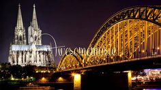 Hohenzollern Bridge, Cologne, Germany, crossing the Rhine, with Cologne Cathedral. An iron tied arch bridge. Places Around The World, Oh The Places You'll Go, Around The Worlds, Germany Landscape, Germany Castles, Cologne Germany, Long Shot, Wallpaper Pictures, City Lights