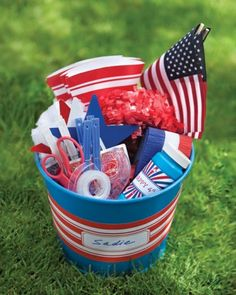Patriotic Pails: Organize supplies in bins or buckets, and set them out for the whole gang to use. Fourth Of July Crafts For Kids, Fourth Of July Decor, 4th Of July Celebration, 4th Of July Decorations, 4th Of July Party, July 4th, Muesli, Bike Decorations, Bike Parade