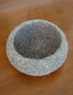 Hand Knit Felted Bowl Charcoal Gray 100 by HeatherCarolineKnits, $22.00