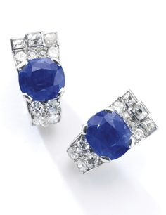 Pair of sapphire and diamond ear clips, Cartier, 1930s Each set with a cushion-shaped sapphire weighing 3.62 and 3.74 carats, and variously cut diamonds, signed Cartier, French assay and maker's marks.