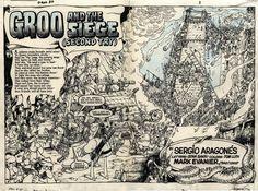 Groo #20 - double page spread original art by Sergio Aragones