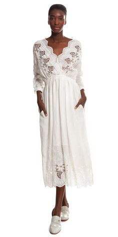 SUNO Lace Embroidery Dress in White