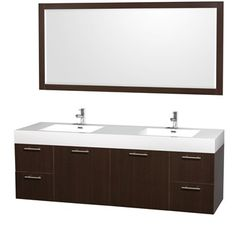 """Amare 72"""" Wall-Mounted Double Bathroom Vanity Set with Integrated Sinks by Wyndham Collection - Espresso"""