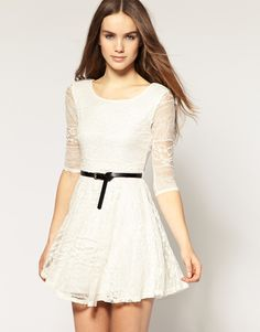 River Island Belted Lace Dress + Keyhole back Cute Lace Dresses, Little White Dresses, Casual Dresses, Dress Lace, Vestidos Junior, Junior Dresses, White Dress With Sleeves, Dresses With Sleeves, New Years Eve Dresses